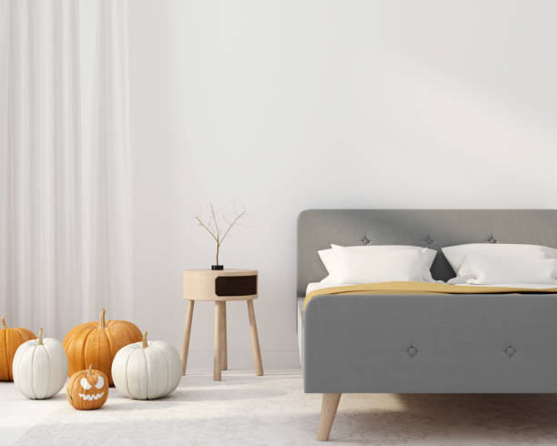 Bedroom interior with pumpkins. Decoration for Halloween