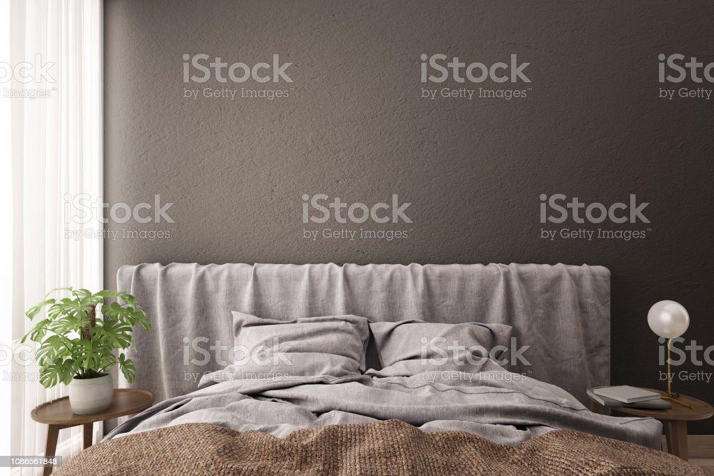 Schlafzimmer Einrichtung Bett Und Seite Tabelle Mit Grauen ...