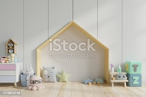 1205865899 istock photo Bedroom kids/Children's room on bed floor with pillows in colorful bedroom. 1219829748