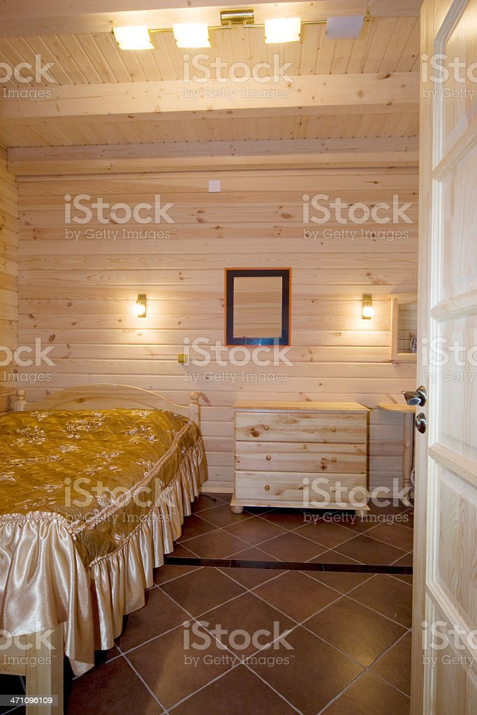 Bedroom: Luxury modern interior of wooden house stock photo