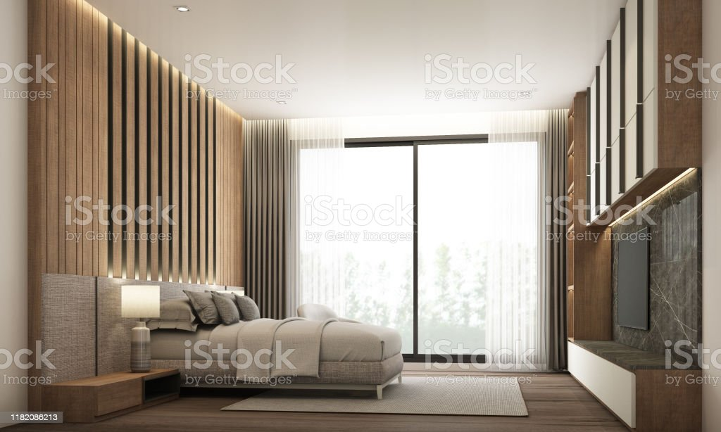 Bedroom Modern Minimal Style With Builtin Headboard And Tv Cabinet With Wooden And Black Marble 3d Rendering Stock Photo Download Image Now Istock