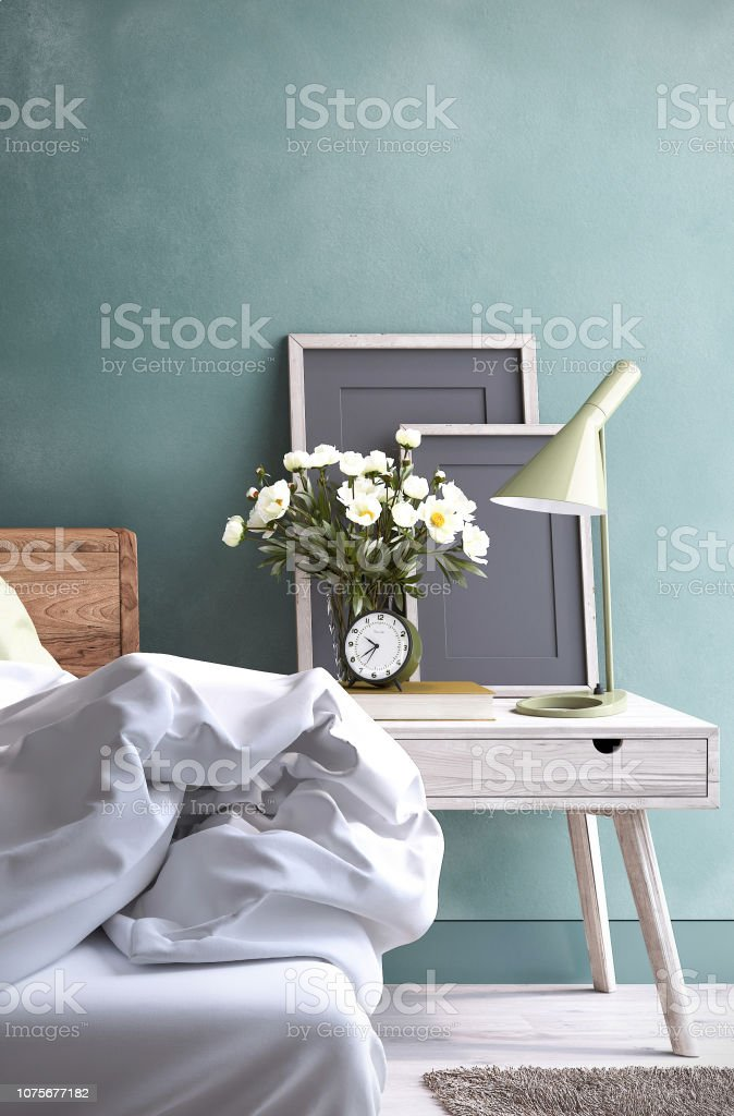 Bedroom night table Modern Bedroom Apartment Stock Photo