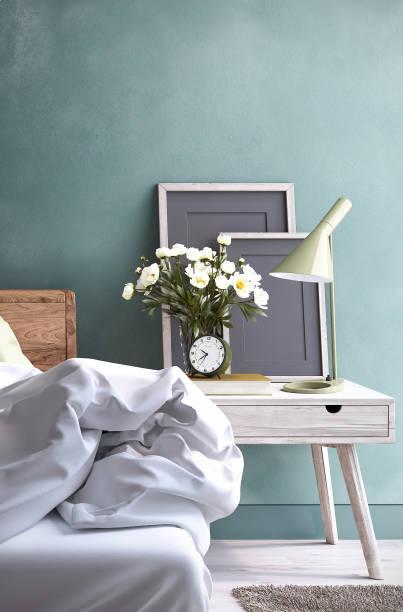 Bedroom night table stock photo