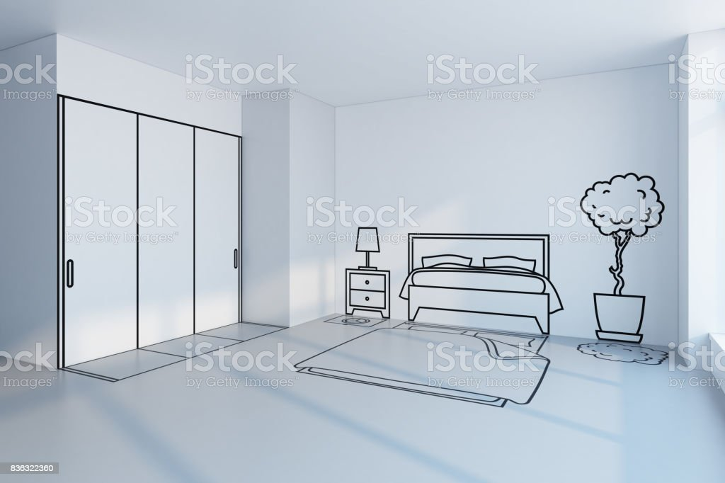 bedroom planning design stock photo