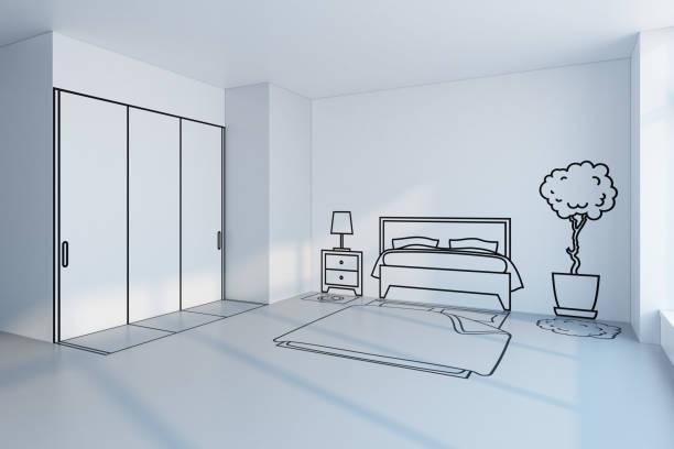 bedroom planning design stock photo
