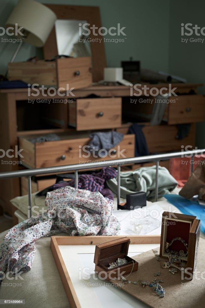 Bedroom Ransacked During Burglary stock photo