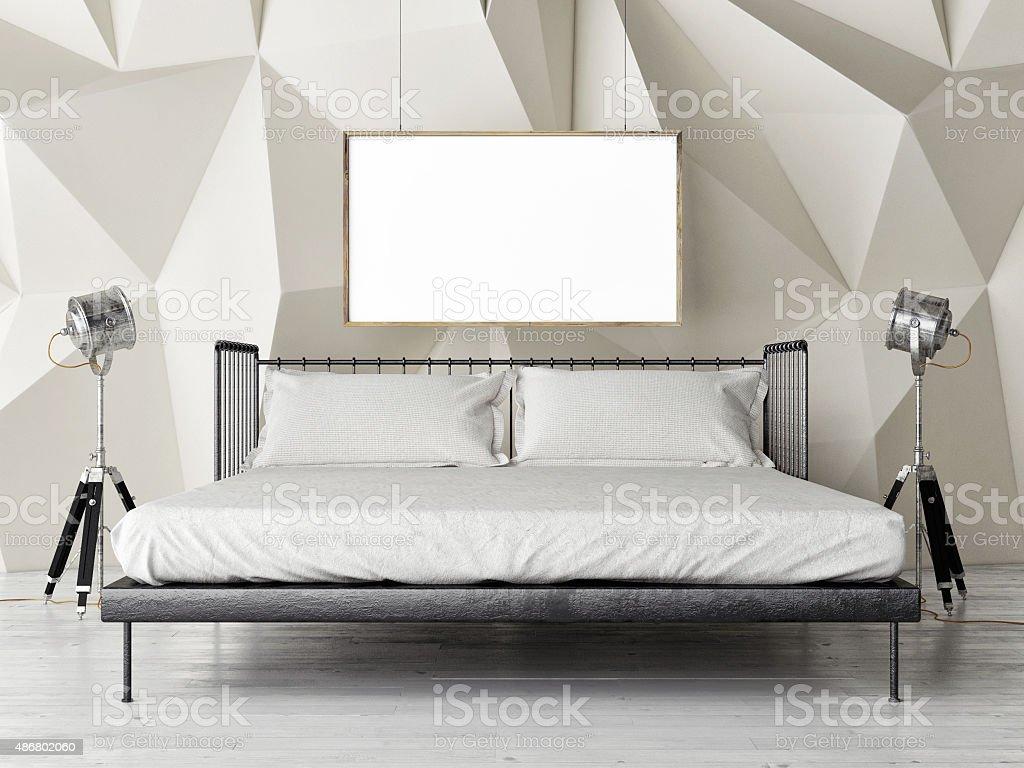 Schlafzimmer Retro Duble Bett Mit Mock Up Poster Lizenzfreies Stock Foto