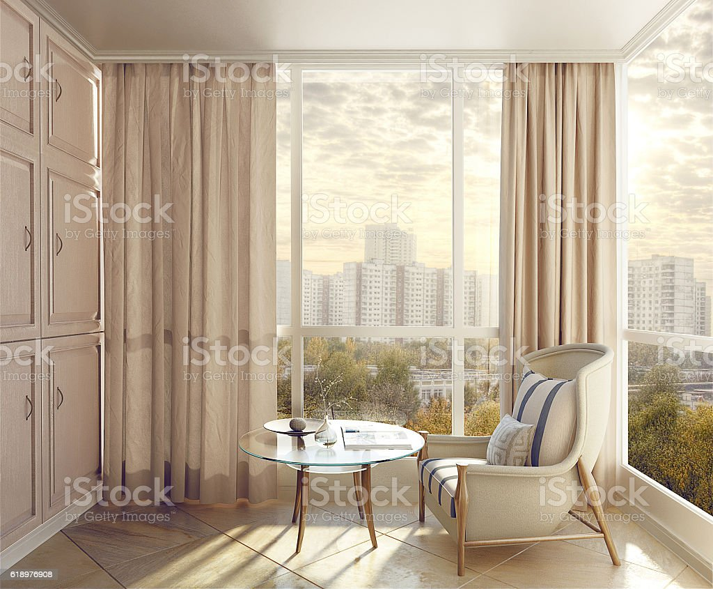 Bedroom seating area in sunlight stock photo