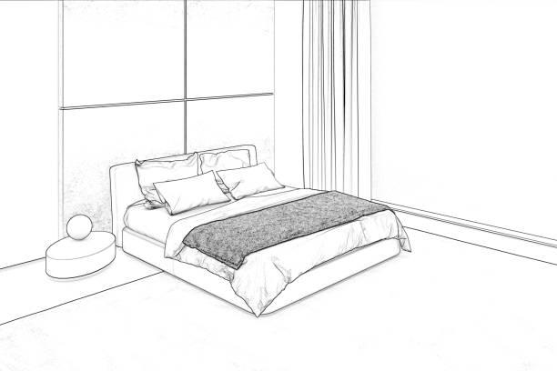 Bedroom sketch stock photo