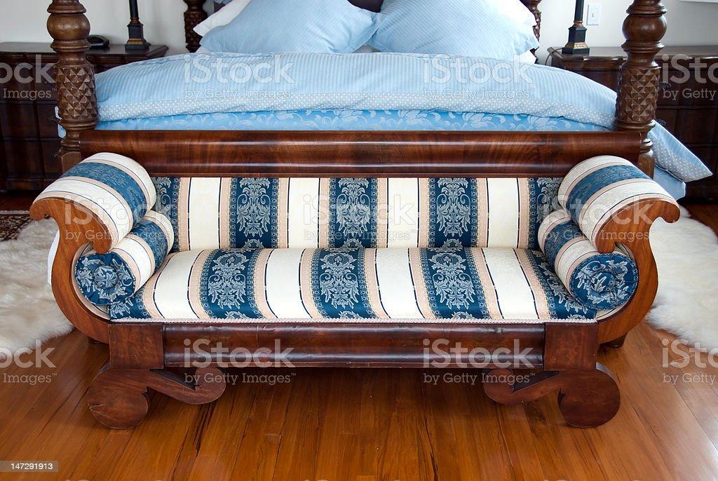 Bedroom sofa stock photo