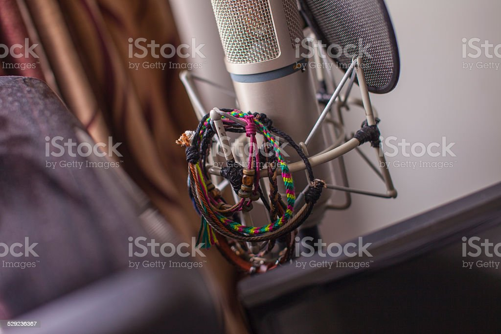 Bedroom Studio Microphone for the Free Spirited Musician stock photo