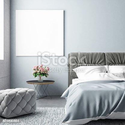 istock Bedroom summer season with mock up poster 824890864