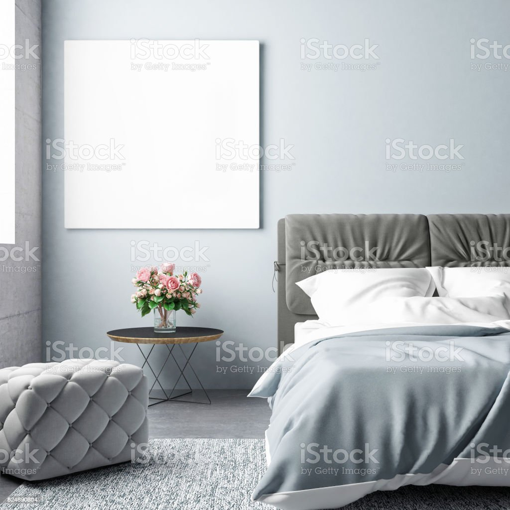 Bedroom summer season with mock up poster stock photo