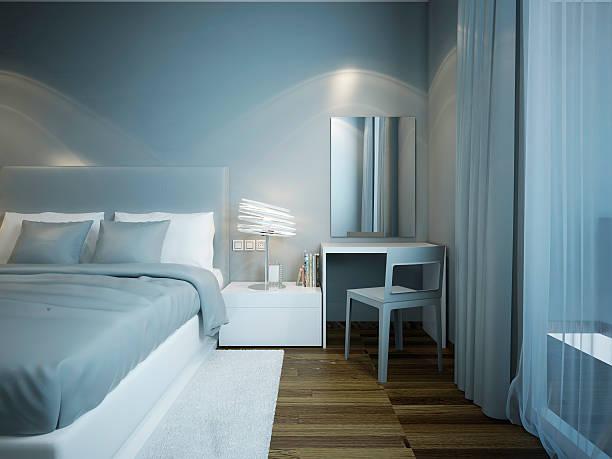 schlafzimmer techno-stil - teppich hellblau stock-fotos und bilder