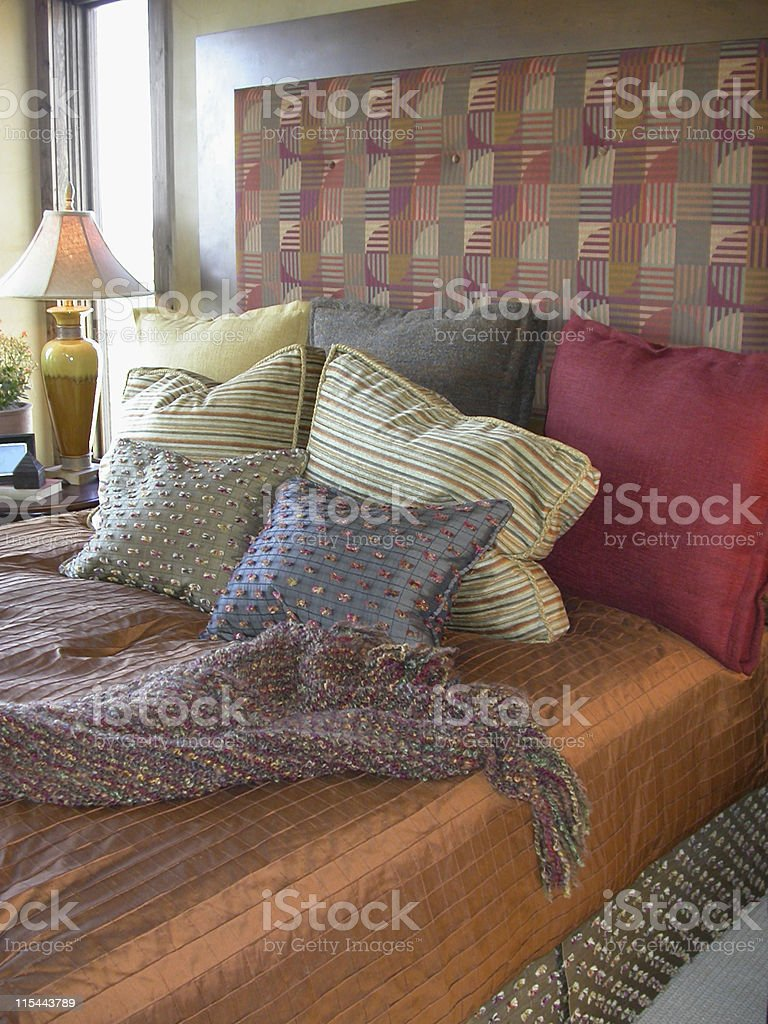 Bedroom, Warm Tones royalty-free stock photo