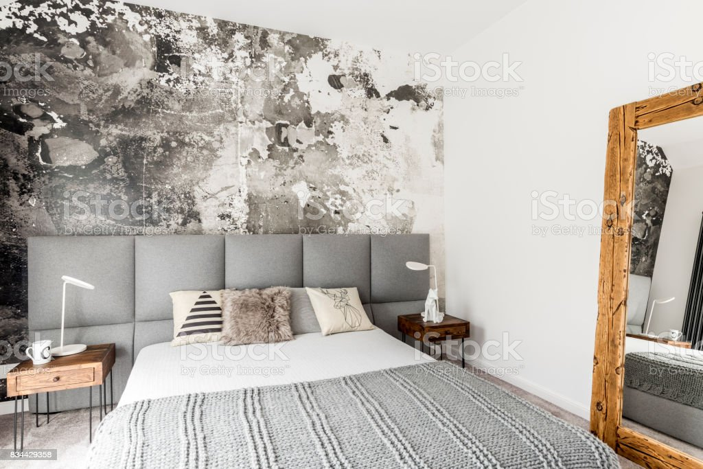 Bedroom With Abstract Grunge Wall Stock Photo & More Pictures of ...