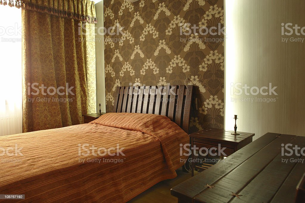 bedroom with big bed royalty-free stock photo