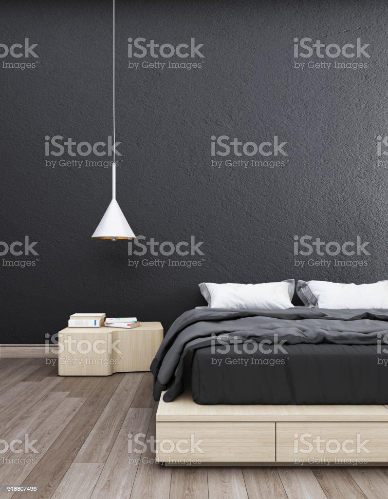 Chambre Avec Un Mur Noir photo libre de droit de chambre avec mur noir et lamp3d de