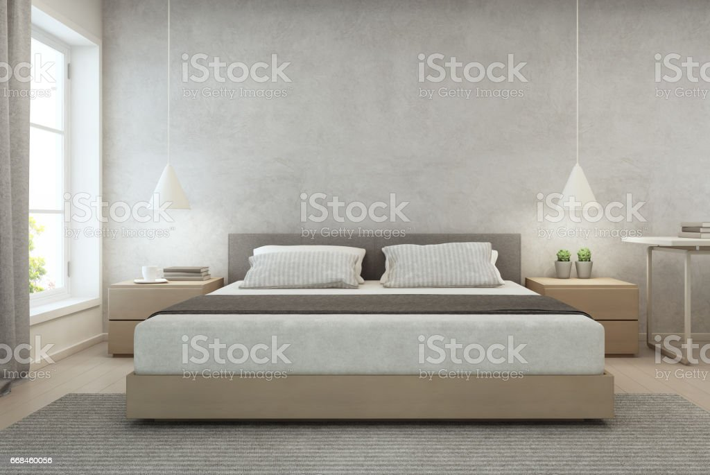 Schlafzimmer mit betonmauer hintergrund in modernen haus loft