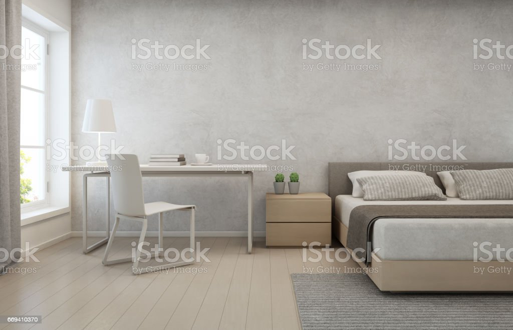 Bedroom with concrete wall background in modern house, Loft interior design of home office