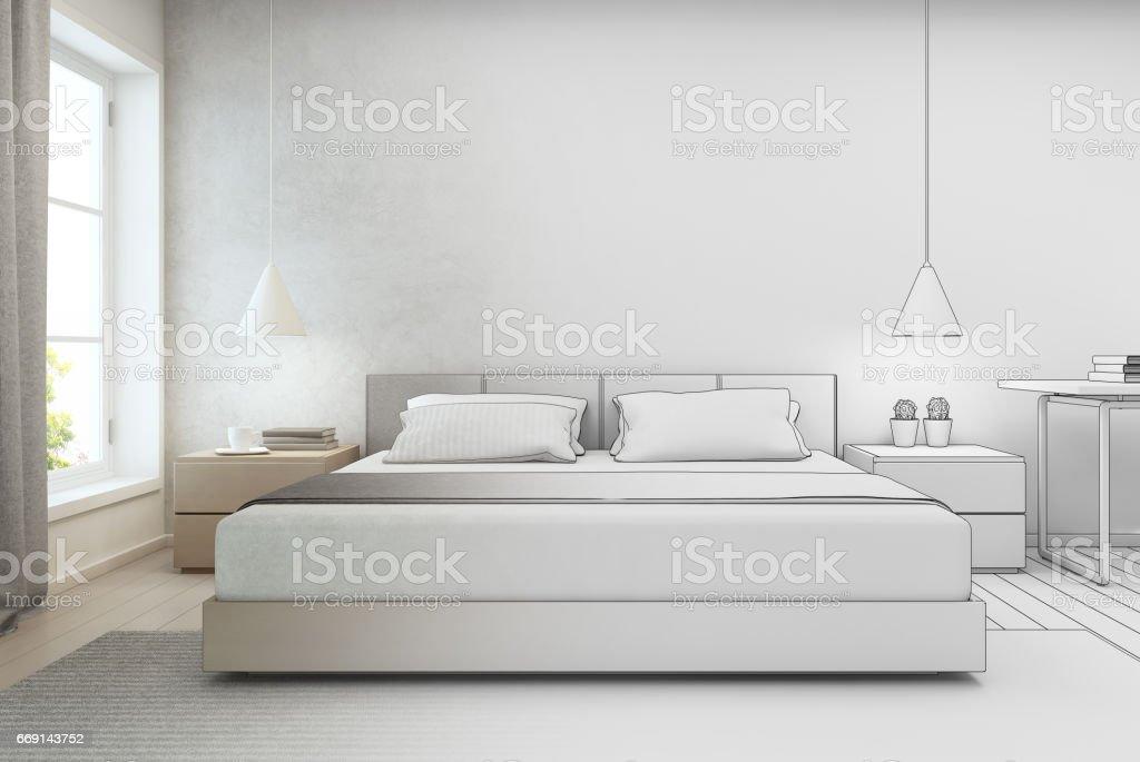 Schlafzimmer mit betonmauer hintergrund in modernen haus skizze