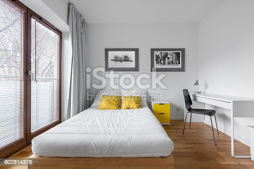 istock Bedroom with countertop desk 802814376