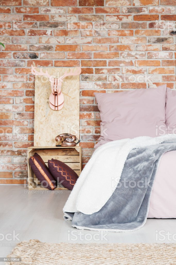 Bedroom With Crate Nightstand Stock Photo Download Image Now Istock