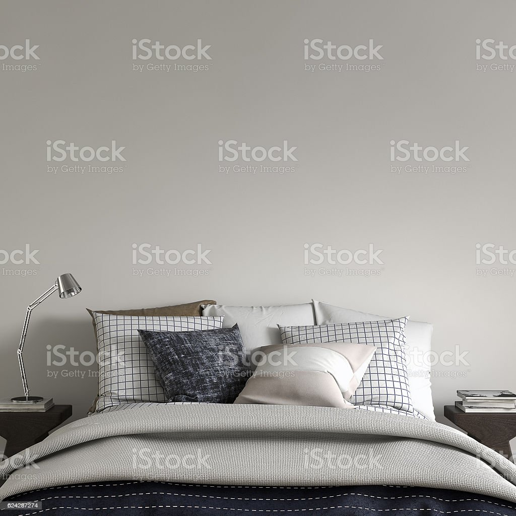Bedroom with decoration and copy space stock photo