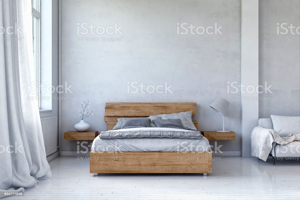 Dormitorio con decoración y copia - foto de stock