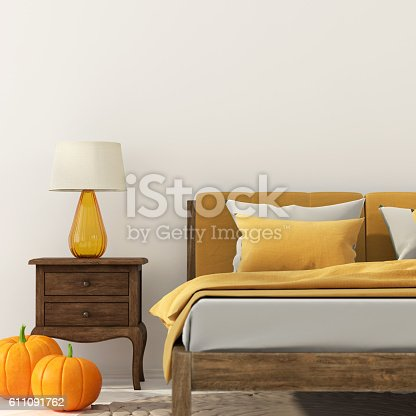 istock Bedroom with decoration for Halloween 611091762