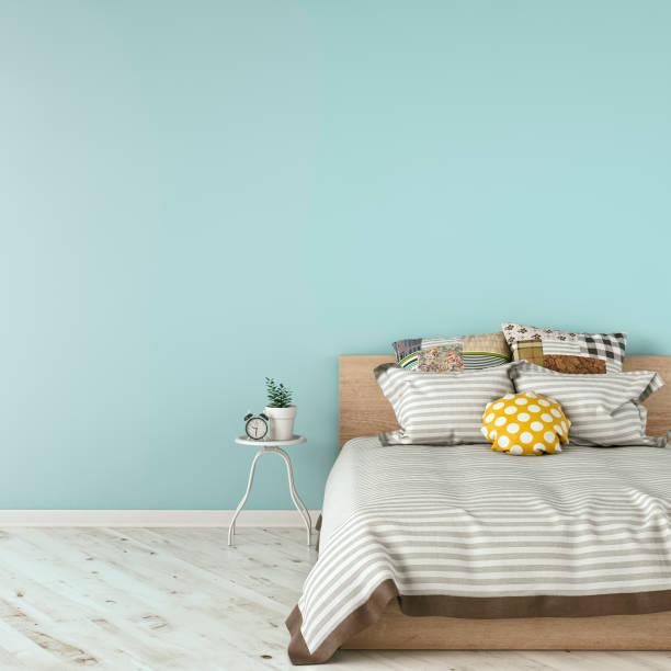 schlafzimmer mit einrichtung - hellblaues zimmer stock-fotos und bilder