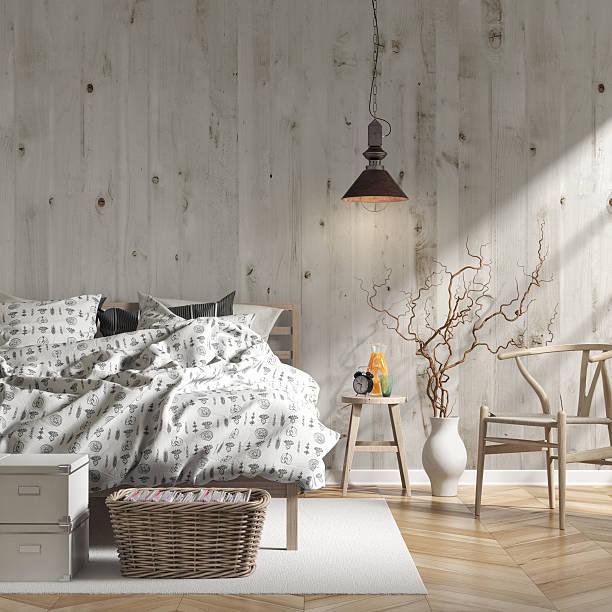 schlafzimmer mit einrichtung – bild - schick moderne schlafzimmer stock-fotos und bilder