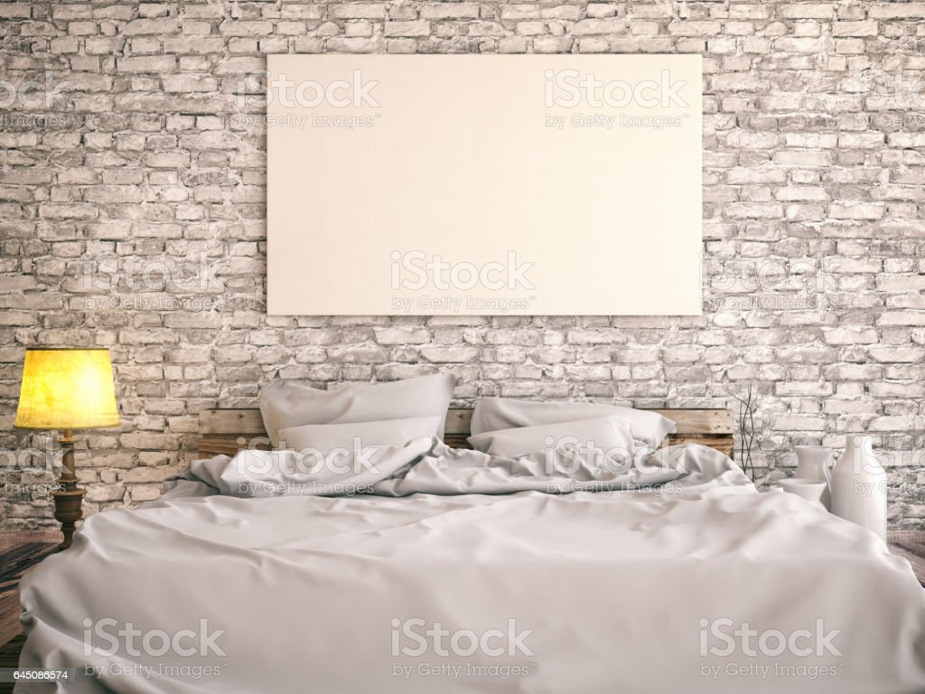 Bedroom with Empty Frame stock photo