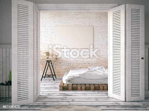 Bedroom interior with double bed and empty canvas