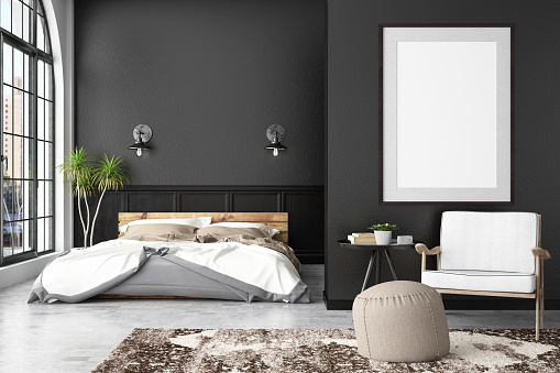 istock Bedroom with Empty Frame 953804850