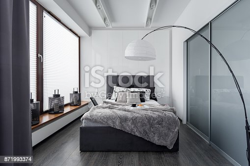 istock Bedroom with floor lamp 871993374