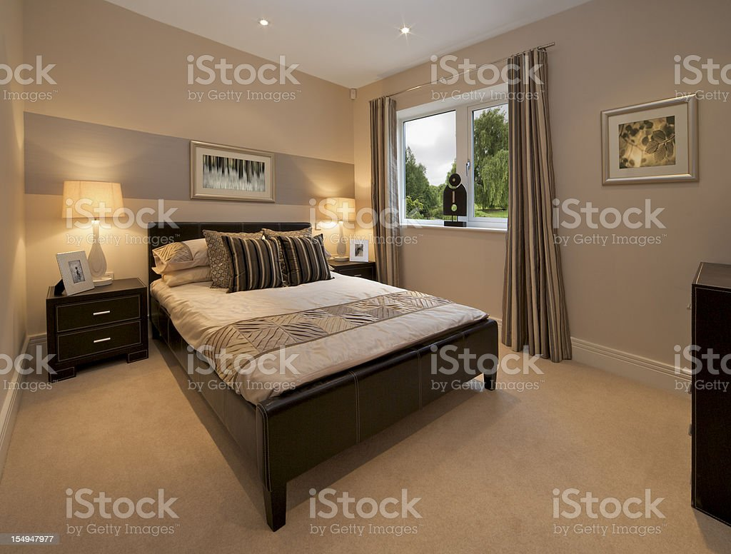 bedroom with garden view royalty-free stock photo