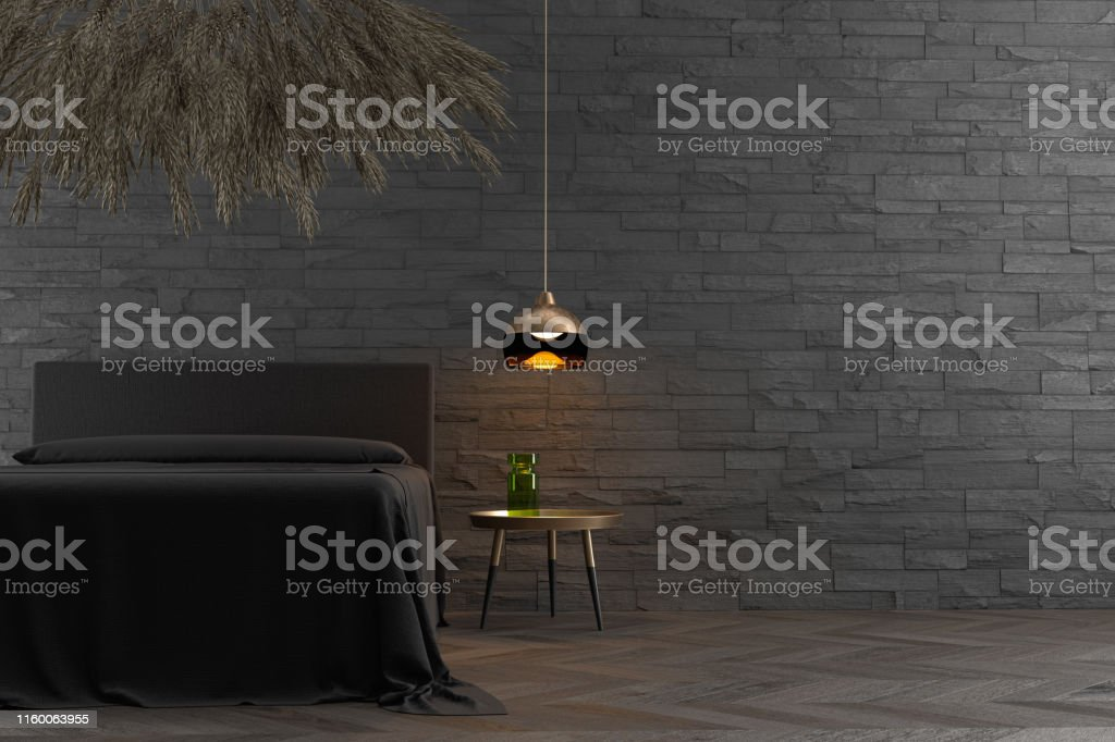 3D rendering of a bedroom with a flower cloud installation