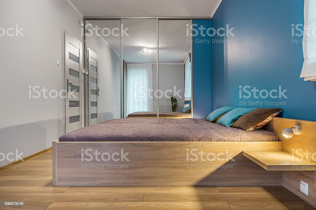 Bedroom with king size bed idea stock photo