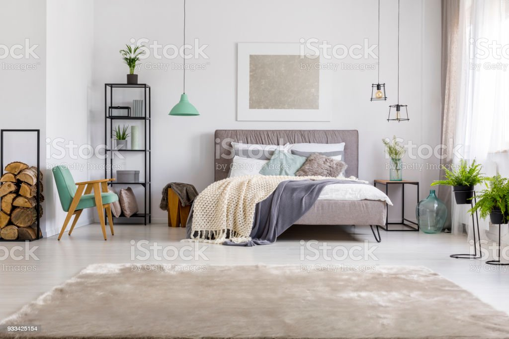 Bedroom with king-size bed stock photo