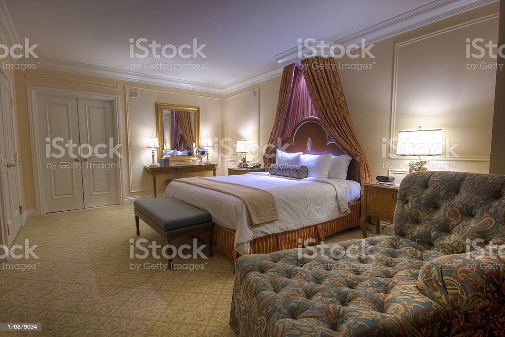 Bedroom With Lamps Canopy Kingsize Bed Stock Photo Download Image Now Istock