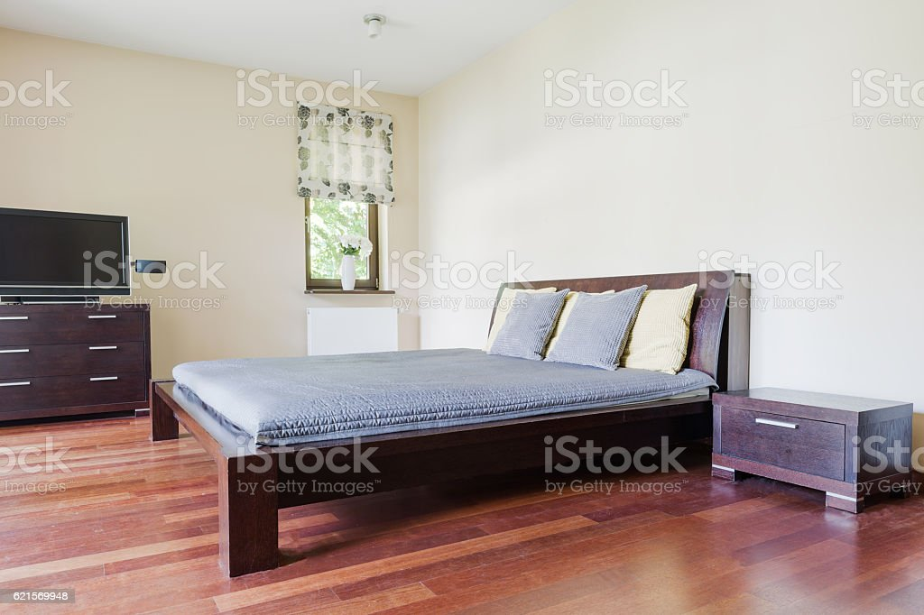 Bedroom with marital bed foto stock royalty-free