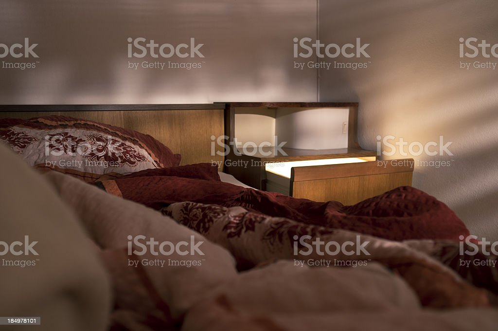 Bedroom with mysterious light stock photo