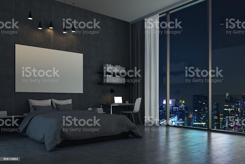Bedroom with panoramic window and cityscape圖像檔