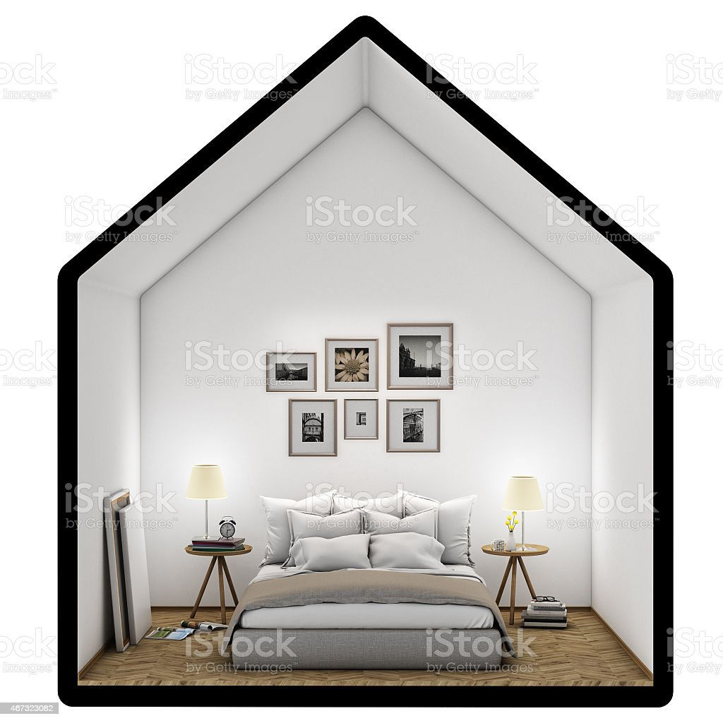 bedroom with posters, mock up background stock photo