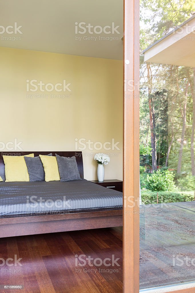 Bedroom with the patio entry foto stock royalty-free