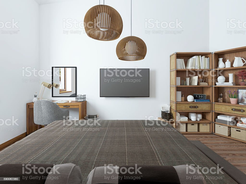 Bedroom With Tv Desk And Shelves For Books Stockfoto und ...