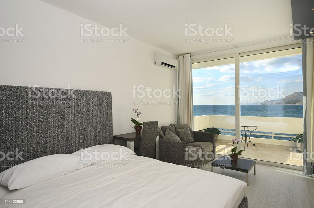 Bedroom with view royalty-free stock photo