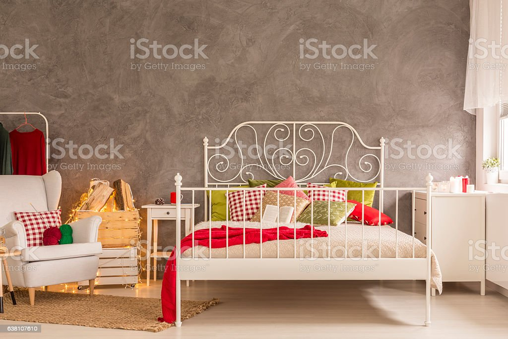 Bedroom with white bed stock photo