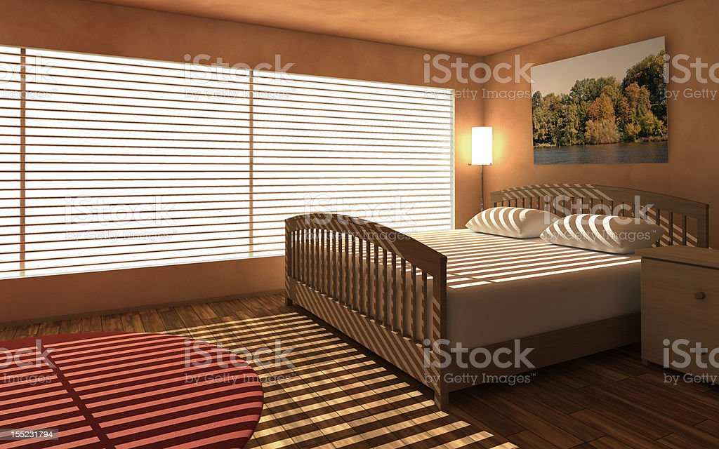 Bedroom with window royalty-free stock photo